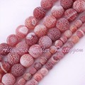 """Free Shipping 4-14mm Frost Red Round Cracked Agate Gem Stone For DIY Necklace Bracelet Jewelry Making Spacer Loose Beads 15""""/Lot"""