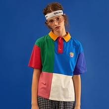 Высококачественная хлопковая рубашка, дизайн, Повседневная летняя новая женская рубашка поло, цветная рубашка с вышивкой, топы с коротким рукавом