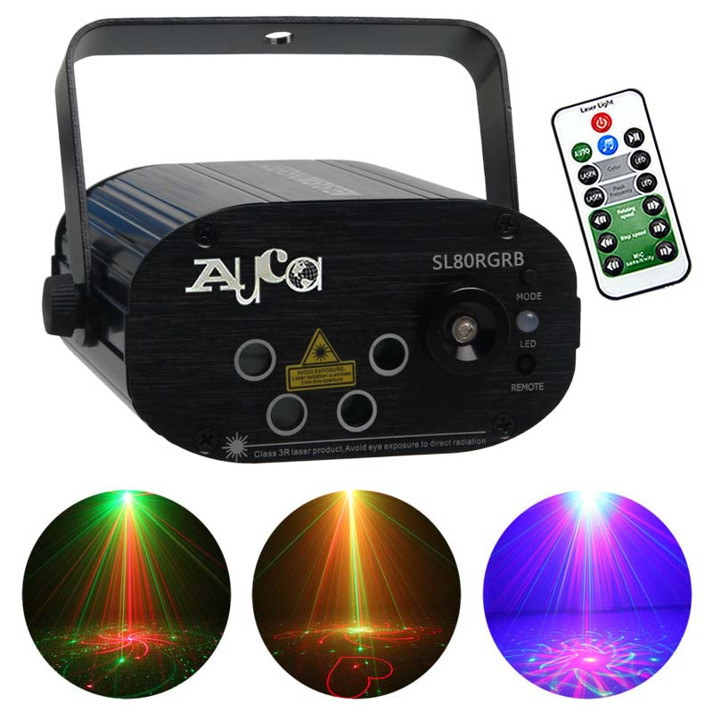 AUCD Mini Remote 4 Lens * 20 Patterns RGRB Laser & Blue LED Adjust Speed Stage Lighting DJ Club Home Party Show Lights SL80RGRB набор семейный автомобиль красный sylvanian families