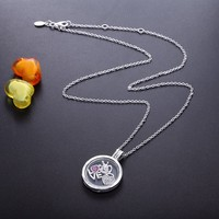 Pandulaso Medium Floating Glass Locket Necklaces with 3 Small Love Heart Petites Inside Fashion Silver 925 Jewelry for Women DIY