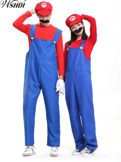 new adult halloween costume women men funny super mario luigi brothers plumber costume jumpsuit fancy cosplay