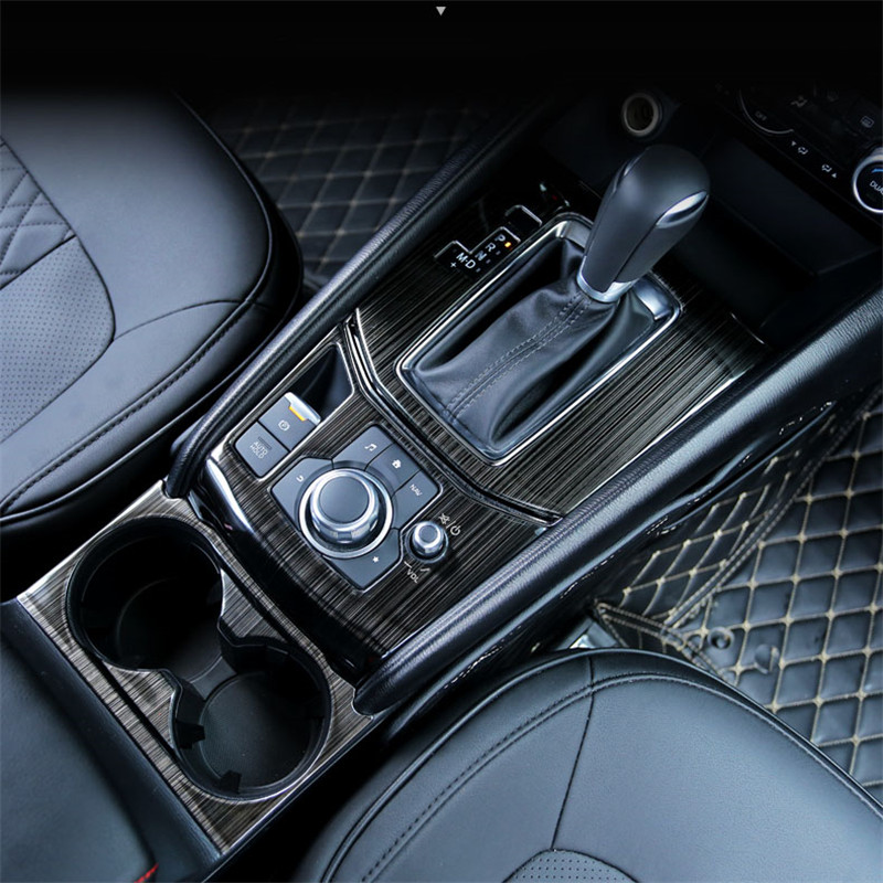 FIT LHD <font><b>Mazda</b></font> <font><b>CX5</b></font> CX-5 2017 2018 Accessories Interior Handbrake Switch Decorative Panel Gear Shift Trim Frame Sticker 2Pcs/Set image