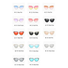 Emosnia Mirror Cateye Goggle Sunglass Ladies Fashion Metal Frame Pink Sunglasses Women Flat Top Brand Design Female Eyewear 2018