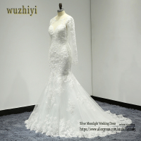 Wuzhiyi Robe De Mariage Applique Long Mermaid Wedding Dress 2017 Cap Sleeve V Neck Lace Bridal