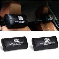 2Pcs Neck Pillows JP Pillows Junction Produce Black White Leather Neck Cushion Auto Car Seat Headrest