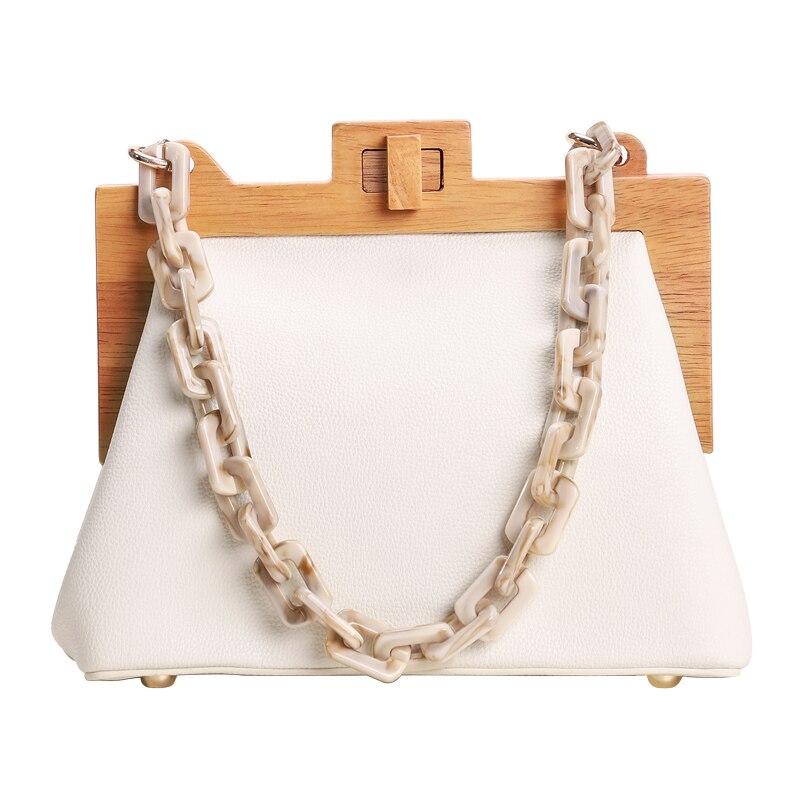 Femmes boîte sac seau sac en bois pince sac de soirée Ins acrylique chaîne de luxe sac à main Banquet fête sac à main sac à bandoulière