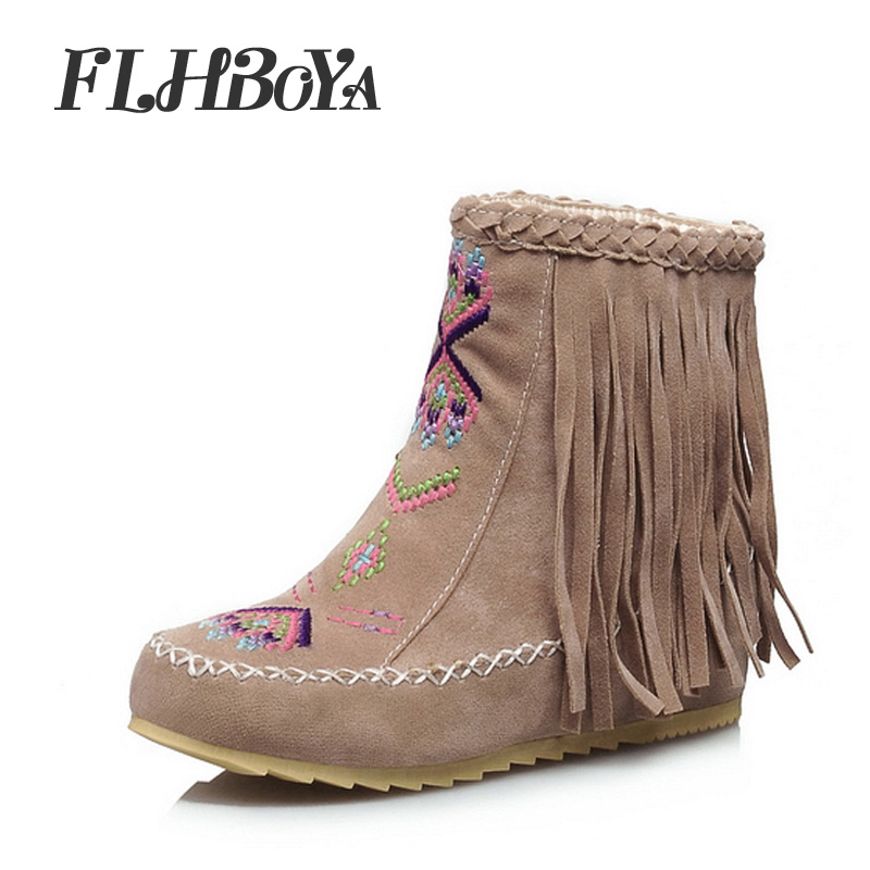 Fashion Womens Flat Heels Fringe Ankle Boots Round Toe Winter Women Brown Red Snow Boots Ladies Party Tassel Stretch Fabric Boot goncale high quality band snow boots women fashion genuine leather women s winter boot with black red brown ug womens boots