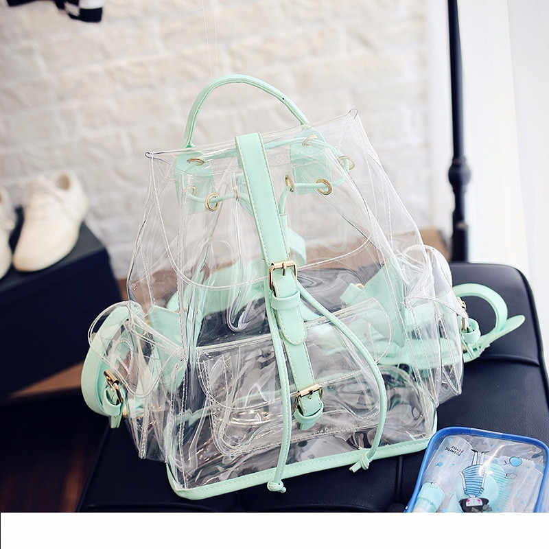 Miyahouse High Quality PVC Material Women Clear Backpack England Style Fashion Ita Bag Female Candy Color Transparent Rucksack