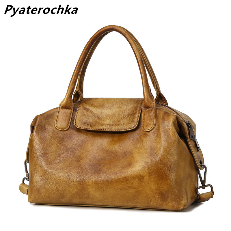 где купить Pyaterochka Women Real Leather Boston Handbags Large Shoulder Bag Vintage Retro Style Genuine Leather Bags Large Big Tote BaoBao по лучшей цене