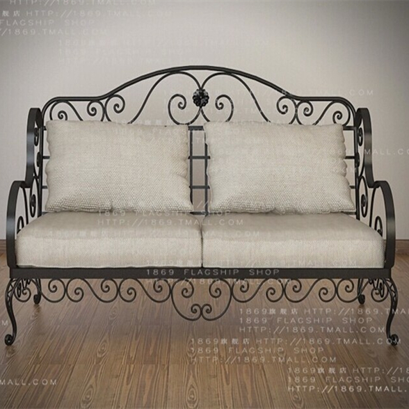 American Country Wrought Iron Sofa Sofa Bed Terrace Three Bedroom Living  Room Sofa Chair Back Chair Part 44
