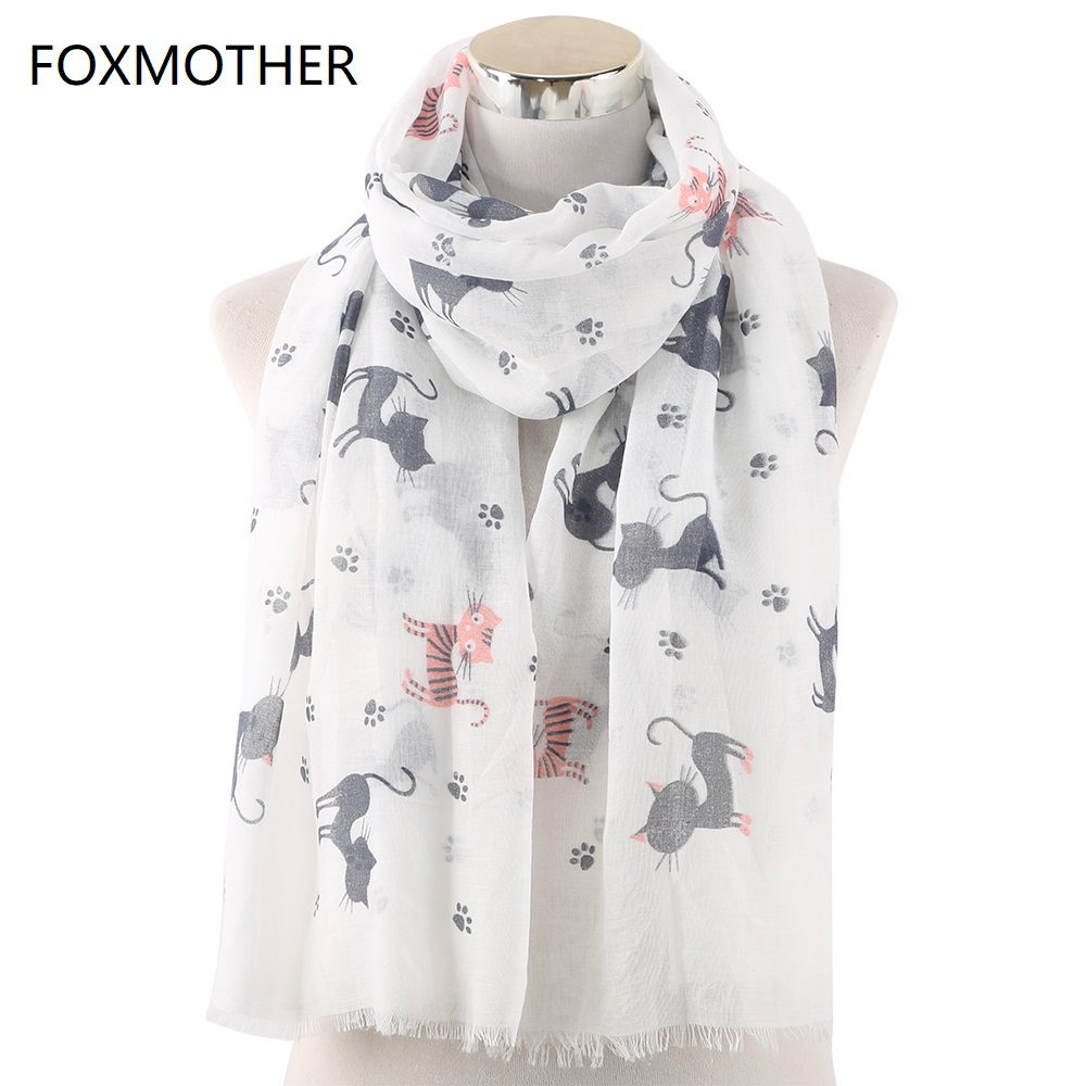 FOXMOTHER New Women Cat Scarf Foulard Femme Animal Print Wrap Bandana Bufanda Mujer Cat Paw Print Scarves Dropshipping 2019