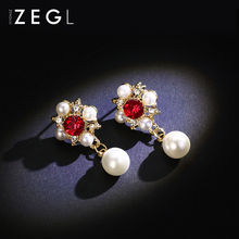 ZEGL retro baroque earrings female imitation pearl temperament short paragraph wild personality ear jewelry