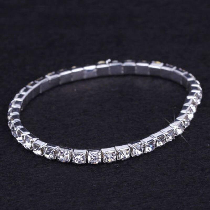 1 Reihe Armband Mode Hochzeit Schmuck Für Braut Kristall Strass Stretch-armband Armreif Bling Armband Für Frauen SchöN In Farbe