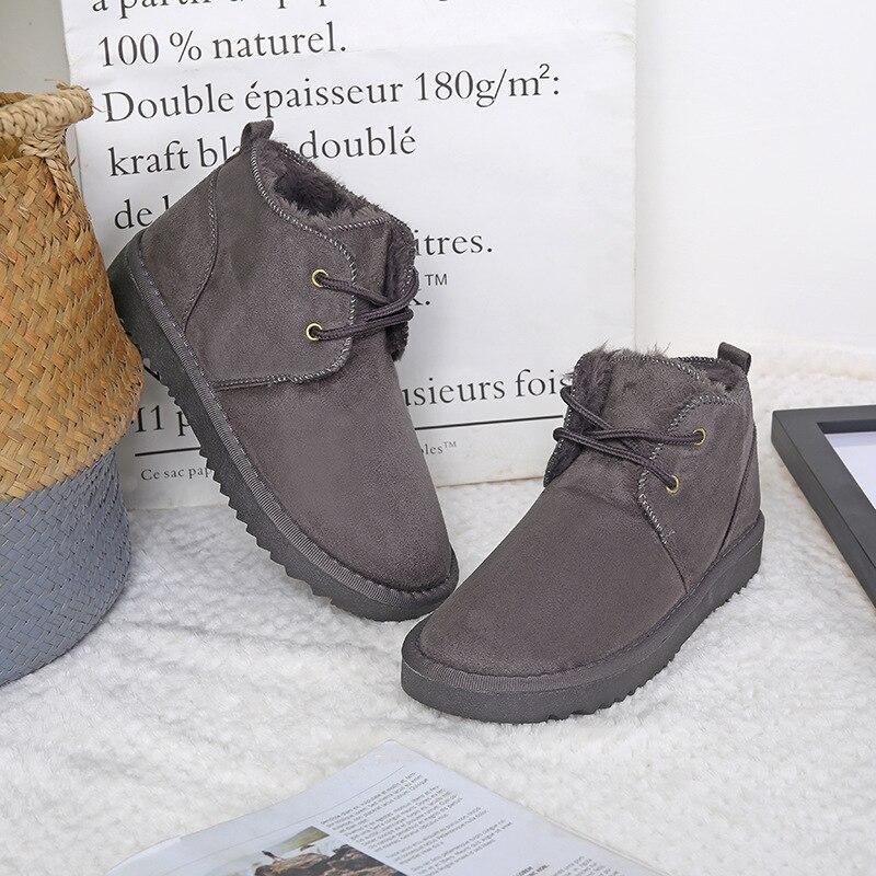 En Épais rose camel Neige Rétro Coton Bottes gris De Zhongbang Chaud Nouvelles Casual D'hiver Chaussures Dentelle Simple Noir Dames 2018 uOZPXiTk