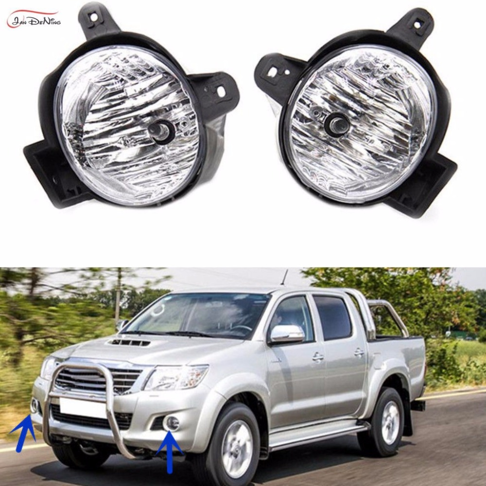 JanDeNing Car Fog Lights  For TOYOTA HILUX VIGO 2011-2013 Clear Front Fog Lamp Cover Trim Replace Assembly kit black (one Pair) car front bumper mesh grille around trim racing grills 2013 2016 for ford ecosport quality stainless steel