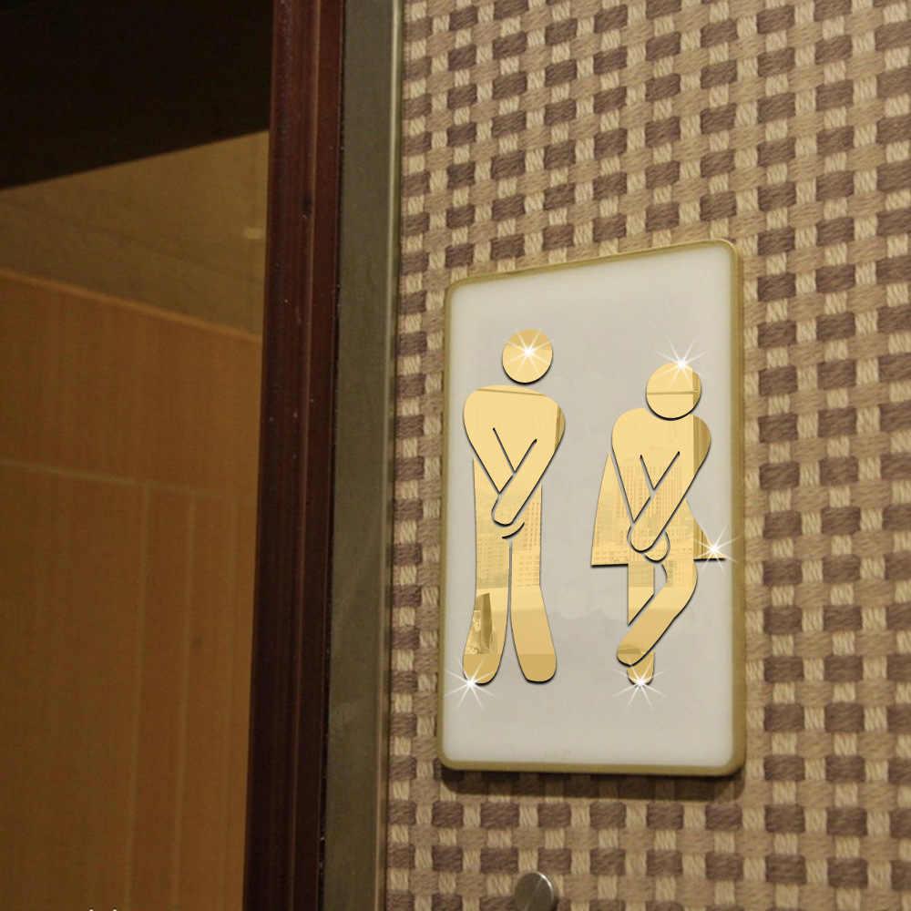 3D зеркало Стикеры имя забавные Туалет входная дверь знак Для мужчин Для женщин Ванная комната DIY настенные Стикеры Home Decor Наклейки на стены стикеры s