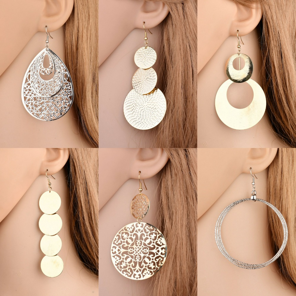 New exaggerated metal big circle atmospheric disc multi-level fashion retro round boho style hollow ladies earrings(China)