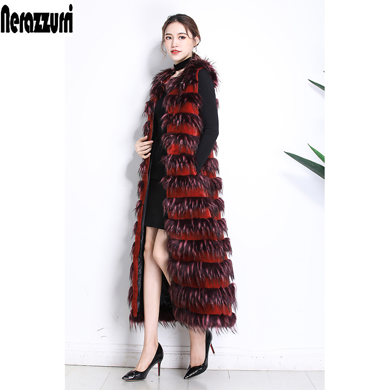 Nerazzurri Faux fur vest women plus size 2019 winter warm fashion striped long fox fur gielt