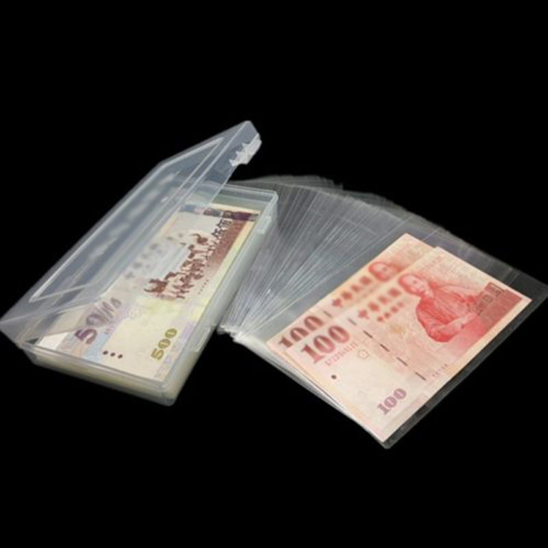 100 Pcs Paper Money OPP Storage Bags Album Currency