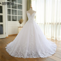 BEPEITHY 2019 Lace Appliques Vestido De Novia V Neck A Line Beck Sweep Train Lace Wedding Dress Bridal Dresses Robe De Mariage