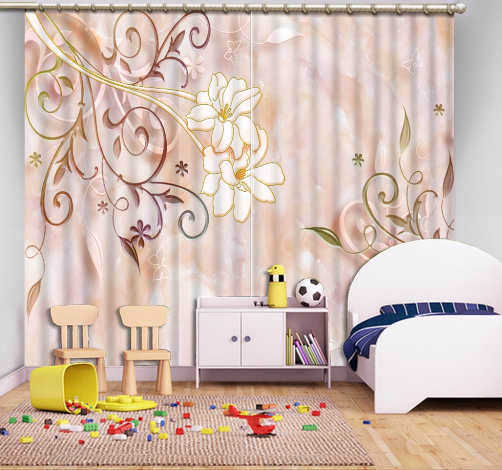 3D Curtain Fashion Customized Pink Pattern Flower Curtains For Bedroom New Custom 3D Beautiful Blackout Shade Window 3D Curtain