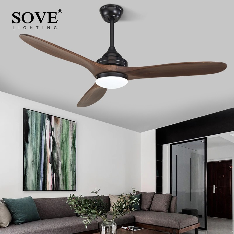 SOVE Black Industrial Vintage Ceiling Fan Wood Without Light Wooden Ceiling Fans Decor Remote Control Ventilador De Teto DC 220v-in Ceiling Fans from Lights & Lighting    2