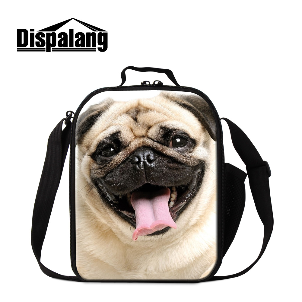 Dispalang pug dog designer kids lunch bag thermal lunch bags for men animal thermo cooler bag for girl food picnic lunch storage