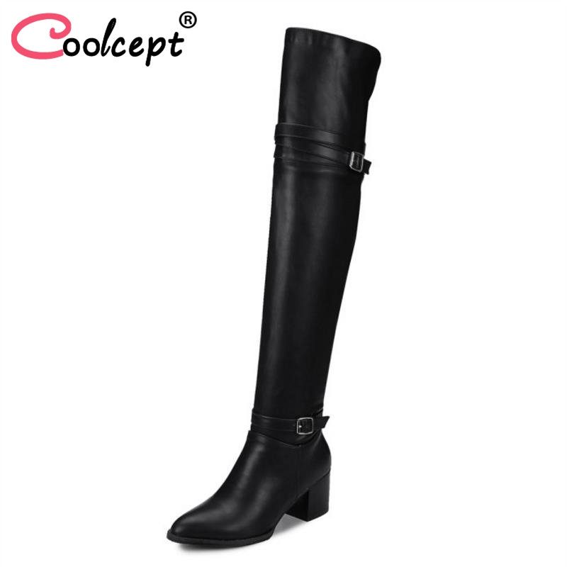 Coolcept Size 32-48 Women Over Knee Boots Buckle High Heel Boots Warm Shoes Women Winter Long Boots Knight Botas Women Footwears coolcept size 31 45 warm winter boots for women real leather over knee long boots women rivets thick high heels warm botas