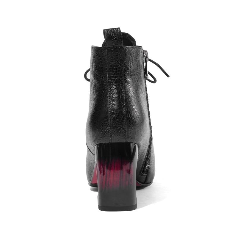Chaud Fretwork Peau Mouton Et Rouge Zvq 2018 wine Vin Bottines Hiver Haute Pour Sexy Carré Mode Zipper Orteil Nouvelle Noir Femmes Chaussures Red Talons Black De 81q1TYOH