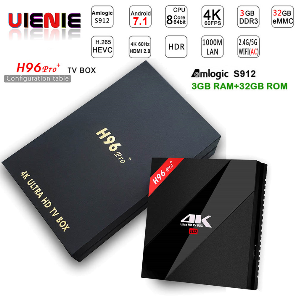 H96pro plus + Smart Android 7.1 TV Box S912 Octa Core UHD 4K 3GB / 32GB1000LAN 2.4G & 5.0G WiFi DLNA Miracast H.265 Media Player