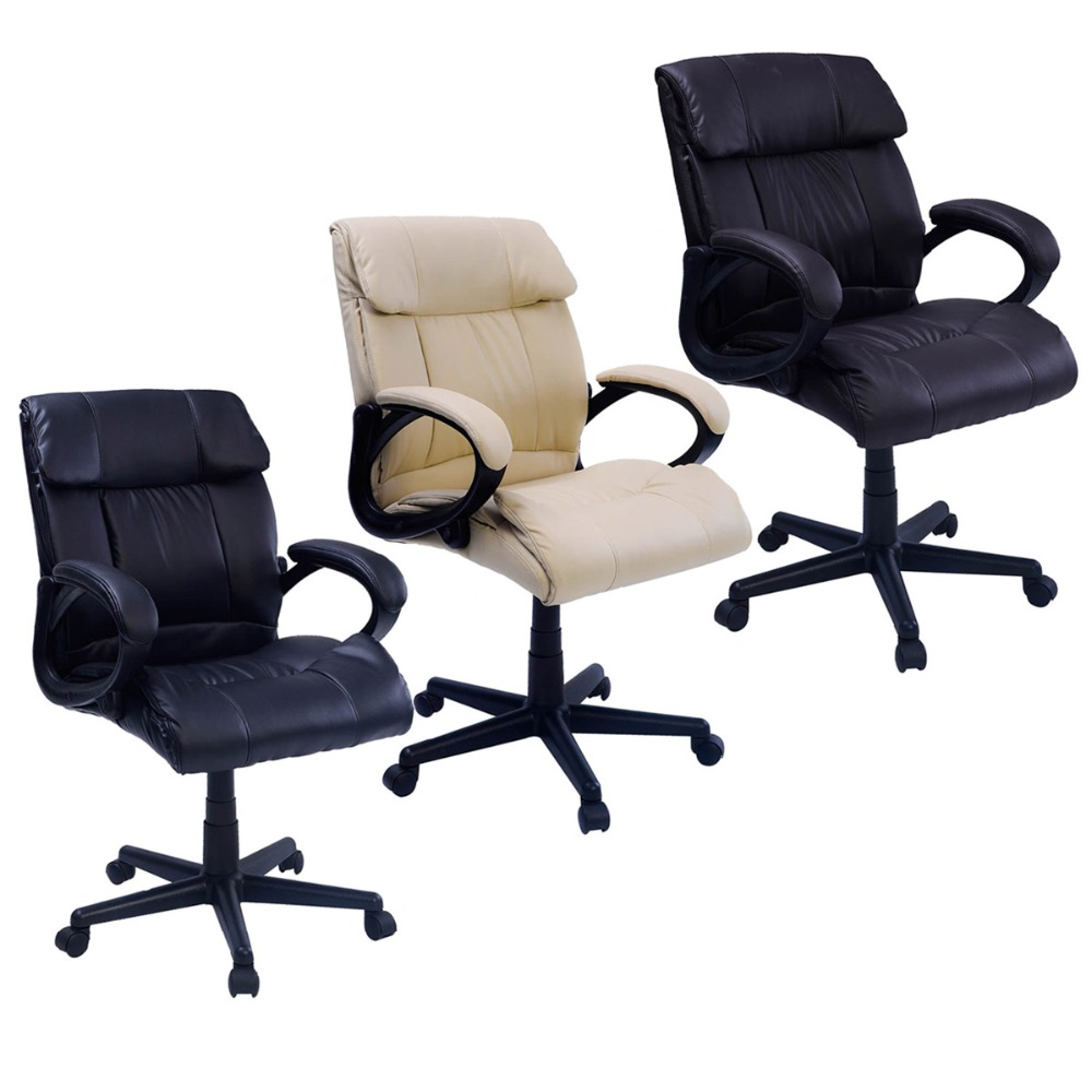 Padded Leather Office Chair Swivel Luxury Adjustable Computer Desk Office Chair 3 COLORS  CB10054 240337 ergonomic chair quality pu wheel household office chair computer chair 3d thick cushion high breathable mesh