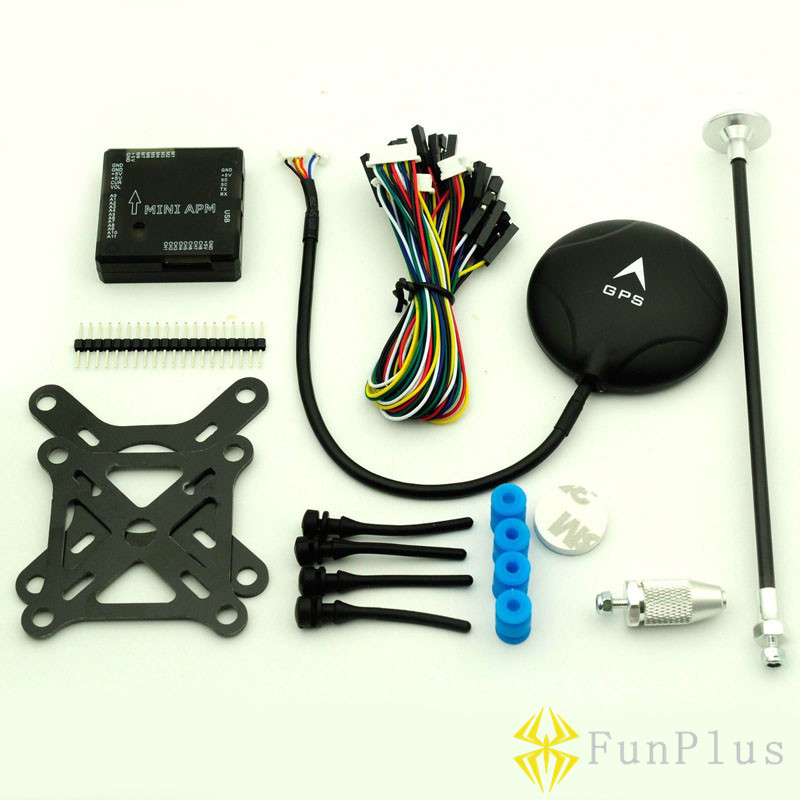 FPV Mini APM V3.1 Flight Controller BLACK + NEO-6M GPS + Shock Absorber + GPS Stand Remote Controller Airplanes apm 2 8 flight controller w case and shock absorber ublox neo 6m gps