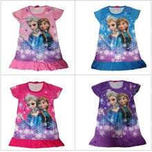 Летнее Детское платье Эльзы и Анны для девочек с героями мультфильмов; Vestidos Infantil; вечерние платья принцессы для сна; детская ночная рубашка для девочек