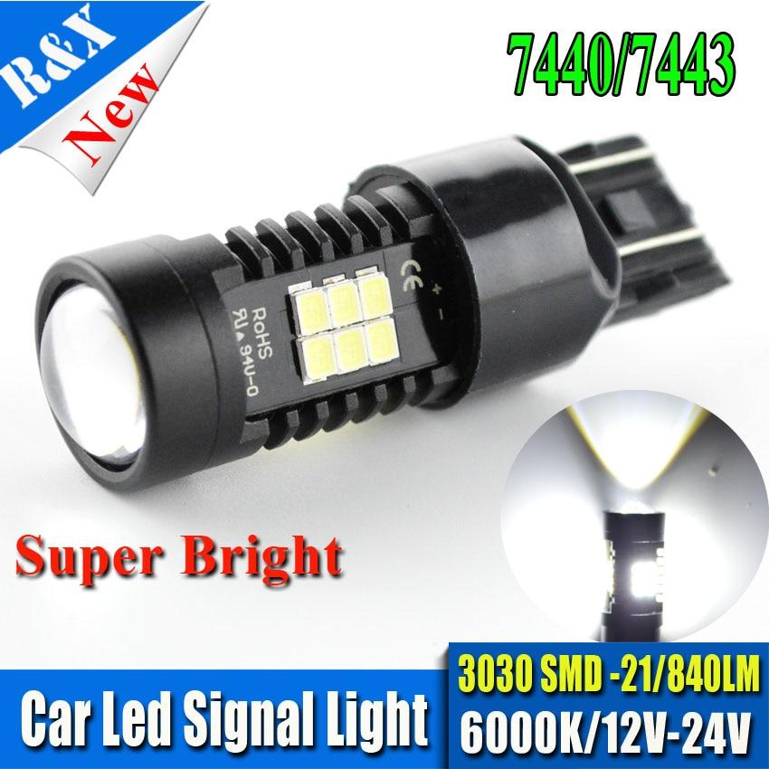 1piece 7443 7440 Led car bulbs 21 SMD 3030 Xenon White W21/5W High power Samsung LED lamp Bulbs car light source parking
