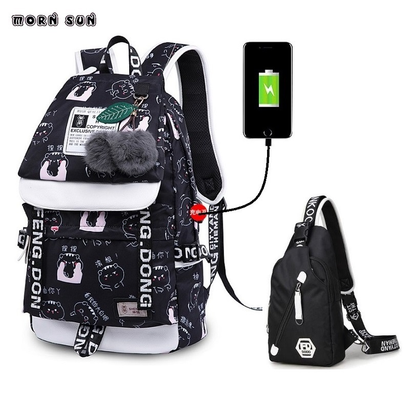 College Usb Backpack Schoolgirl Canvas Backpack Chinese Cartoon Motif Laptop School Bag Anti Theft Backpack Mochila Anti Roubo