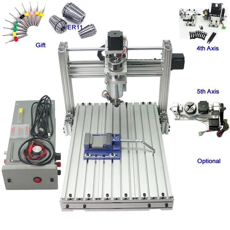Mini CNC Tour À Bois Machine 400 w 3 axe 4 axe 5 axe CNC 3040 Gravure Fraisage Machine
