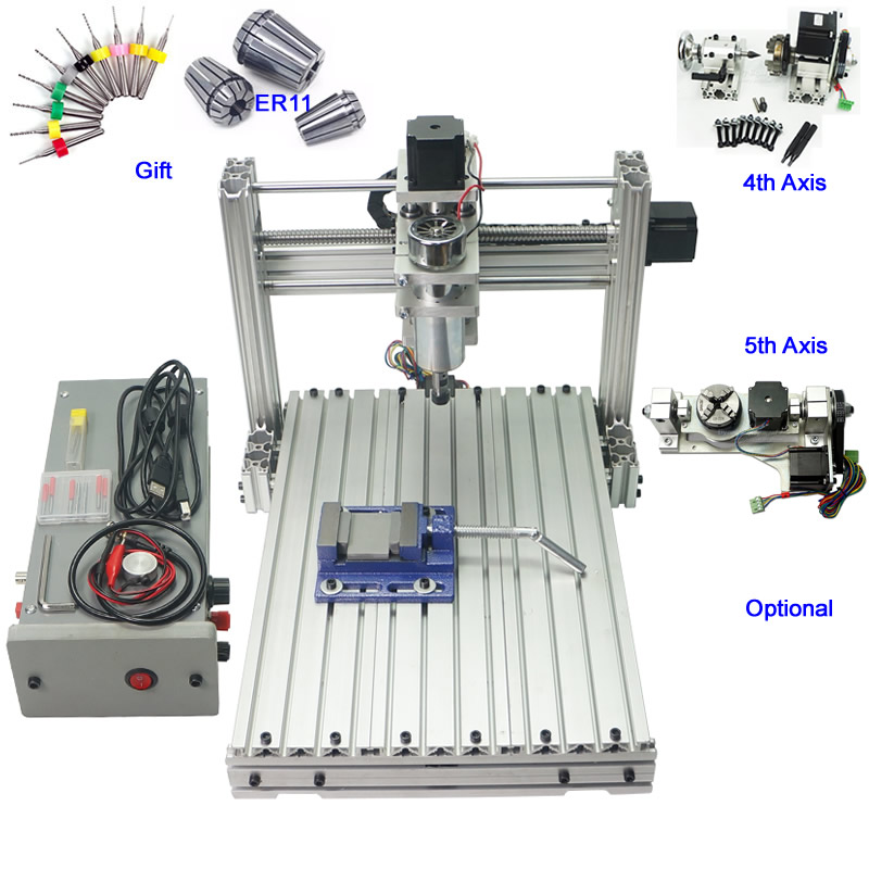 цена на Mini CNC Woodworking Lathe Machine 400W 3axis 4 axis 5 axis CNC 3040 Engraving Milling Machine