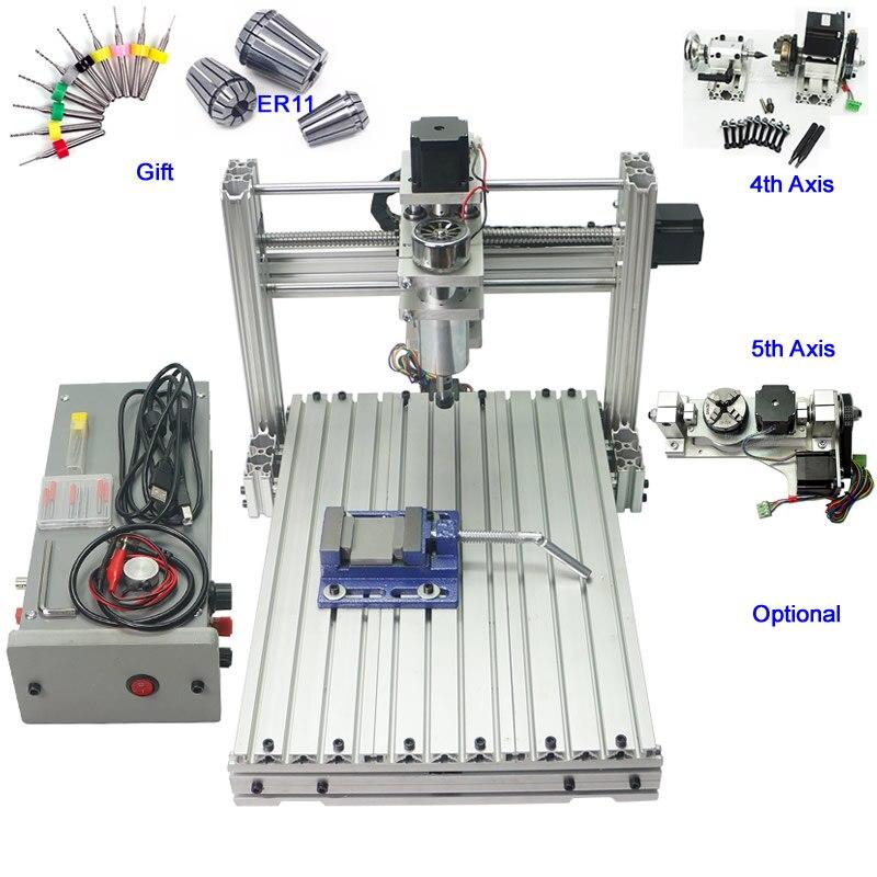 Mini Macchina del Tornio di CNC Lavorazione Del Legno 400 w 3 assi 4 assi 5 assi CNC 3040 di Fresatura Per Incidere Macchina