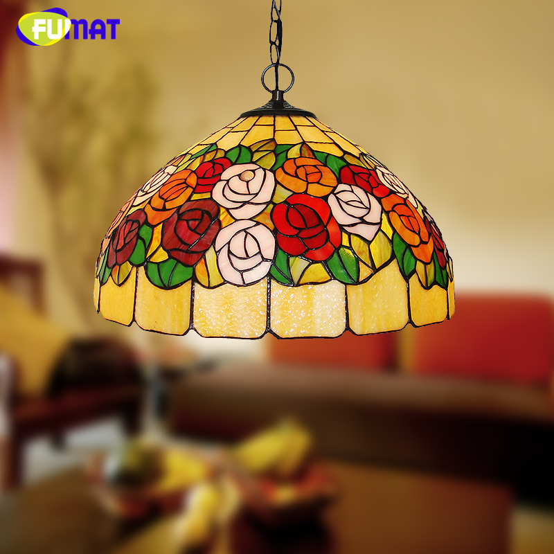 FUMAT Rose Lampshade Pendant Lights Blooming Roses Stained Glass Lights For Living Room Restaurant Kitchen Decor Pendant Lamp