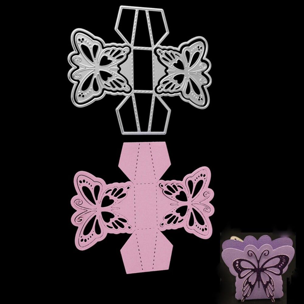 Gift Box Metal Cutting Dies Butterfly Box Cut Die Stencils for DIY Scrapbooking Gift Candy Box Metal Die Decorative Embossing