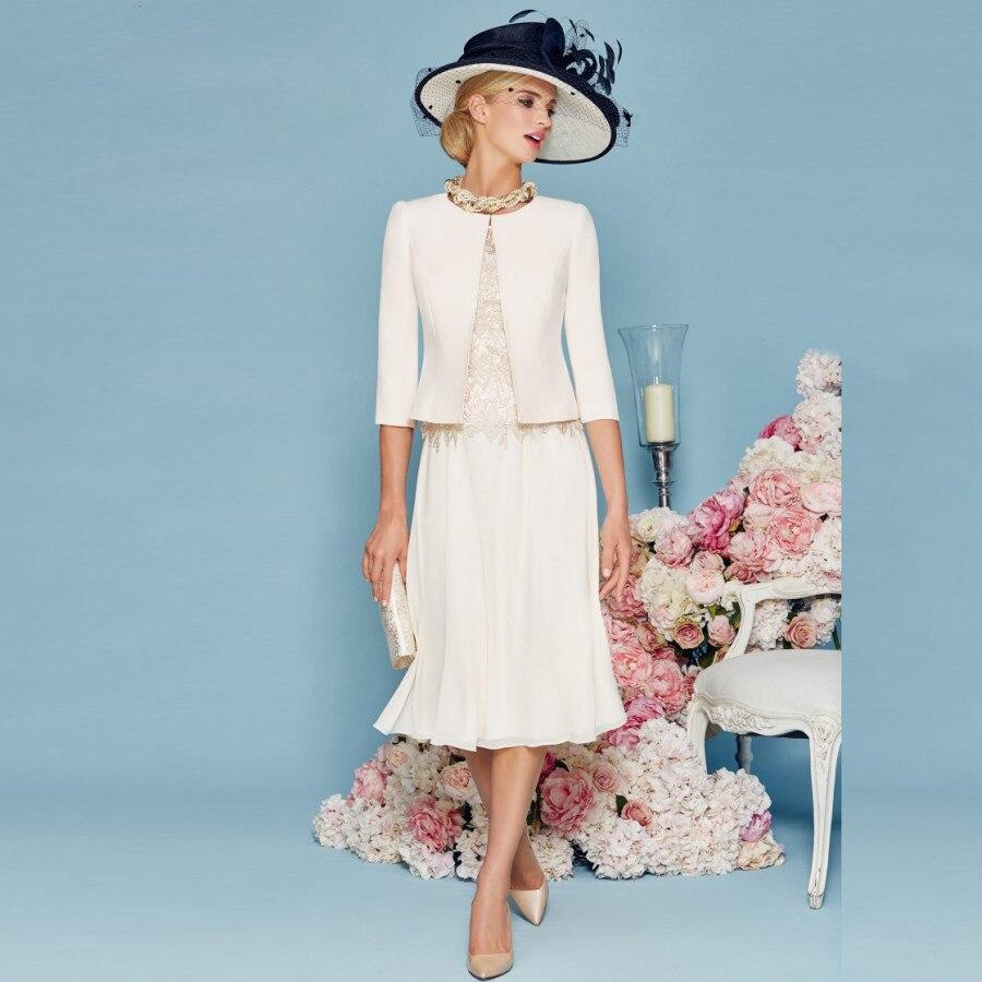 Платье для матери невесты с жакетом шифон 2017 Винтаж 3/4 рукава Мать платье вечернее платье Vestido Madre Novia выпускное платье