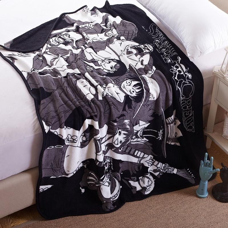 Anime One Piece Blanket Skull Design Fleece Travel Blanket