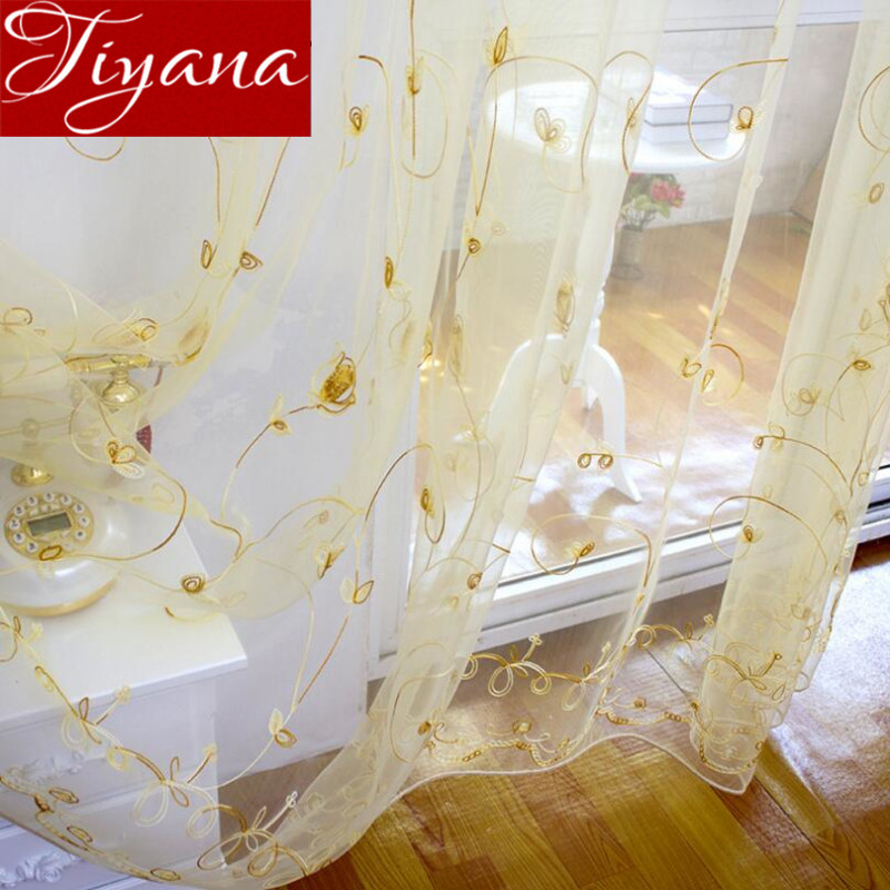 Guld Gardiner Floral Sheer Voile European Window Moderne Dagligstue Soveværelse Curtians Tulle Lilla Cortinas Rideaux T & 256 # 20
