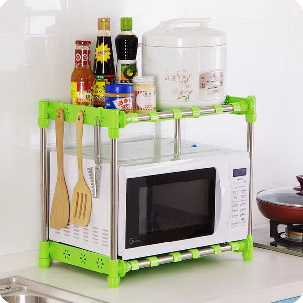 microwave shelf french oven rack double layer seasoning finishing storage rack countertop sooktops organizer