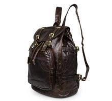 Free Shipping JMD Vintage Preppy Style Genuine Leather Unisex Backpacks Satchel Bag # 6085C-1