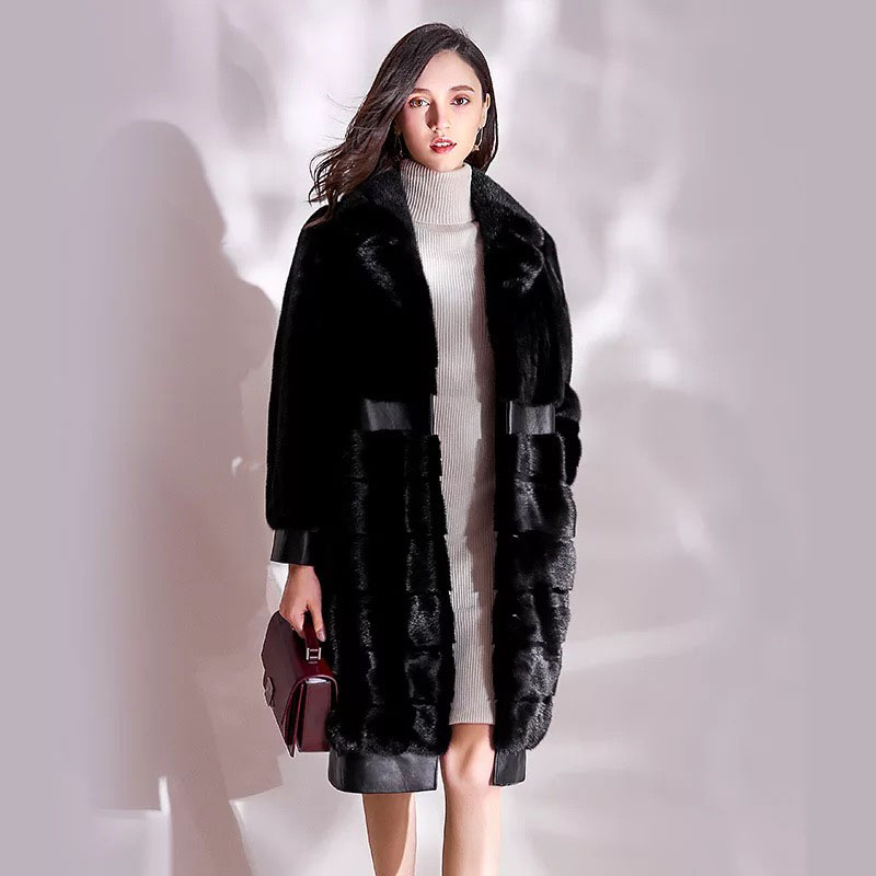 Des 2017 Luxe Naturel Black Veste De Vison Hiver Manteau Lady Fourrure Qualité Marque Long Avec Haute Élégant Importés Ceintures Femmes Style rrwEAxP1