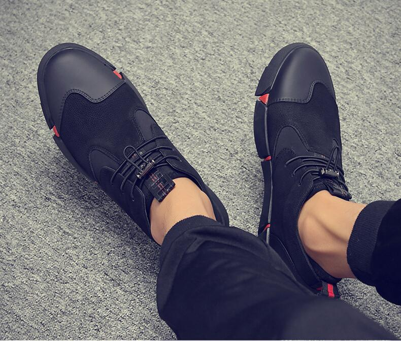 HTB1VjqnKr1YBuNjSszeq6yblFXaT Brand High quality all Black Men's leather casual shoes Fashion Sneakers winter keep warm with fur flats big size 45 46 LG-11