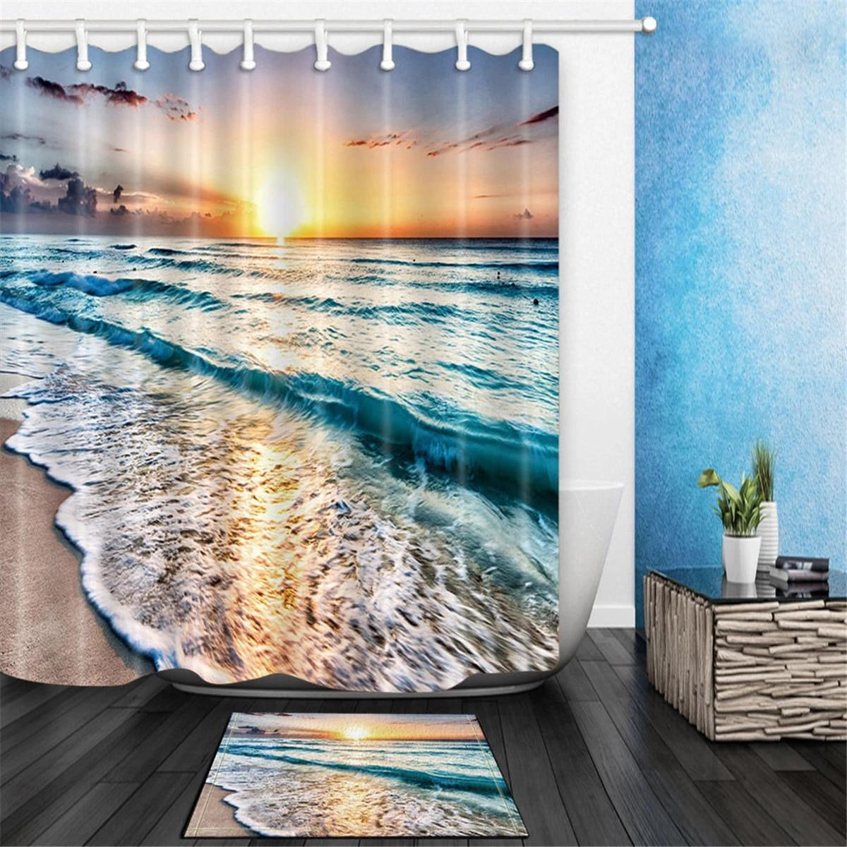 bathroom shower curtain bath mat top selling ocean nautical coastal beach sunset bathroom fabric shower curtain set with hook