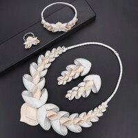 4 pcs Fashion Flower Leaf Cubic Zirconia Dubai African Wedding Jewelry Set Necklace Bangle Earrings Ring Bridal Fashion Jewelry
