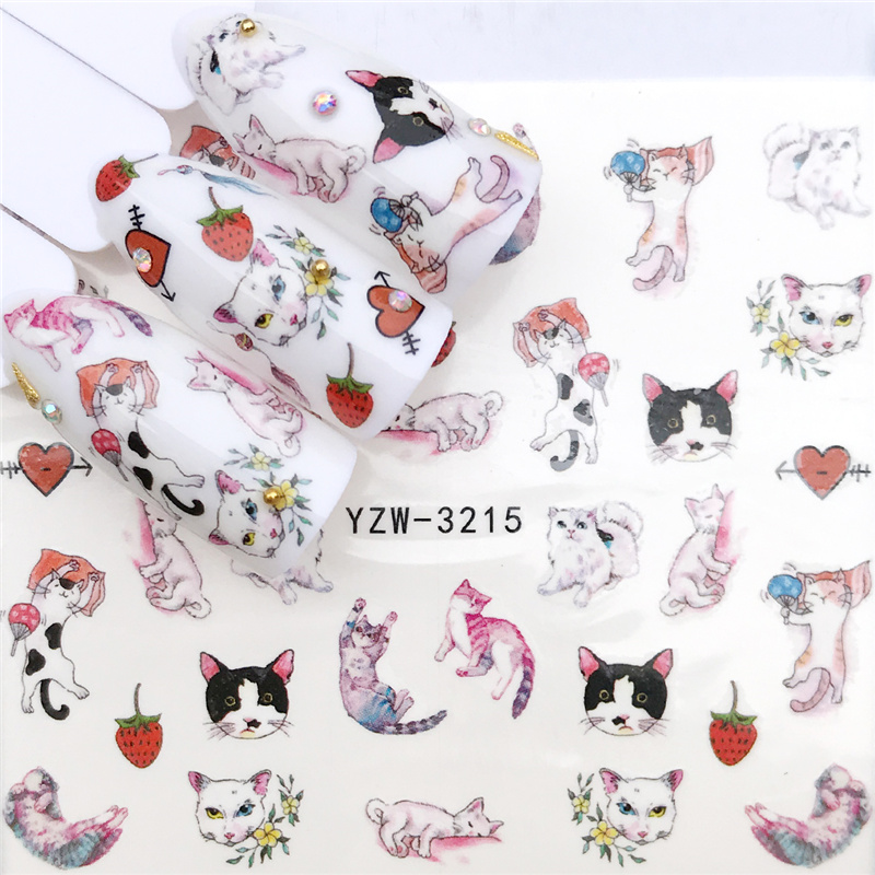 LCJ 1 PC 2020 New Styles Nail Sticker Water Decals Fruit / Flower / Cat Transfer Nail Art Decoration